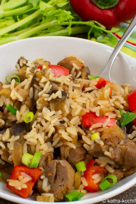Puten-Reispfanne mit Aubergine