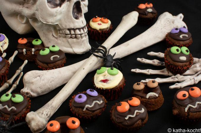 Halloween - Mini-Muffins mit Gruseldeko